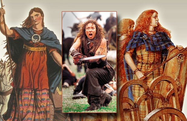 Capture of Alex Kingston as Boudicca from TV movie, along with historical images.